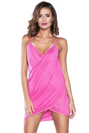Plážové šaty na ramínka růžové